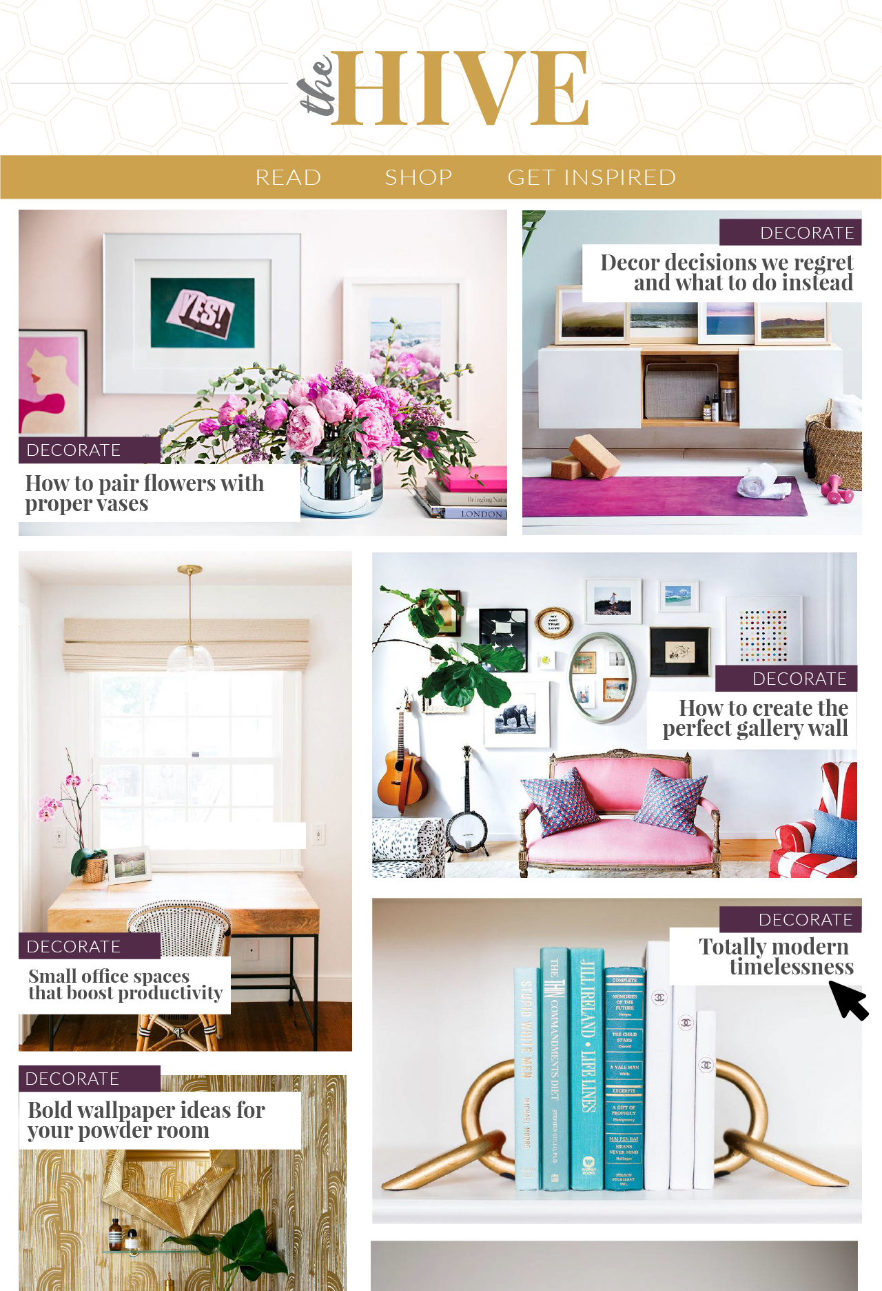 Home page for the website of a fictional interior design publication