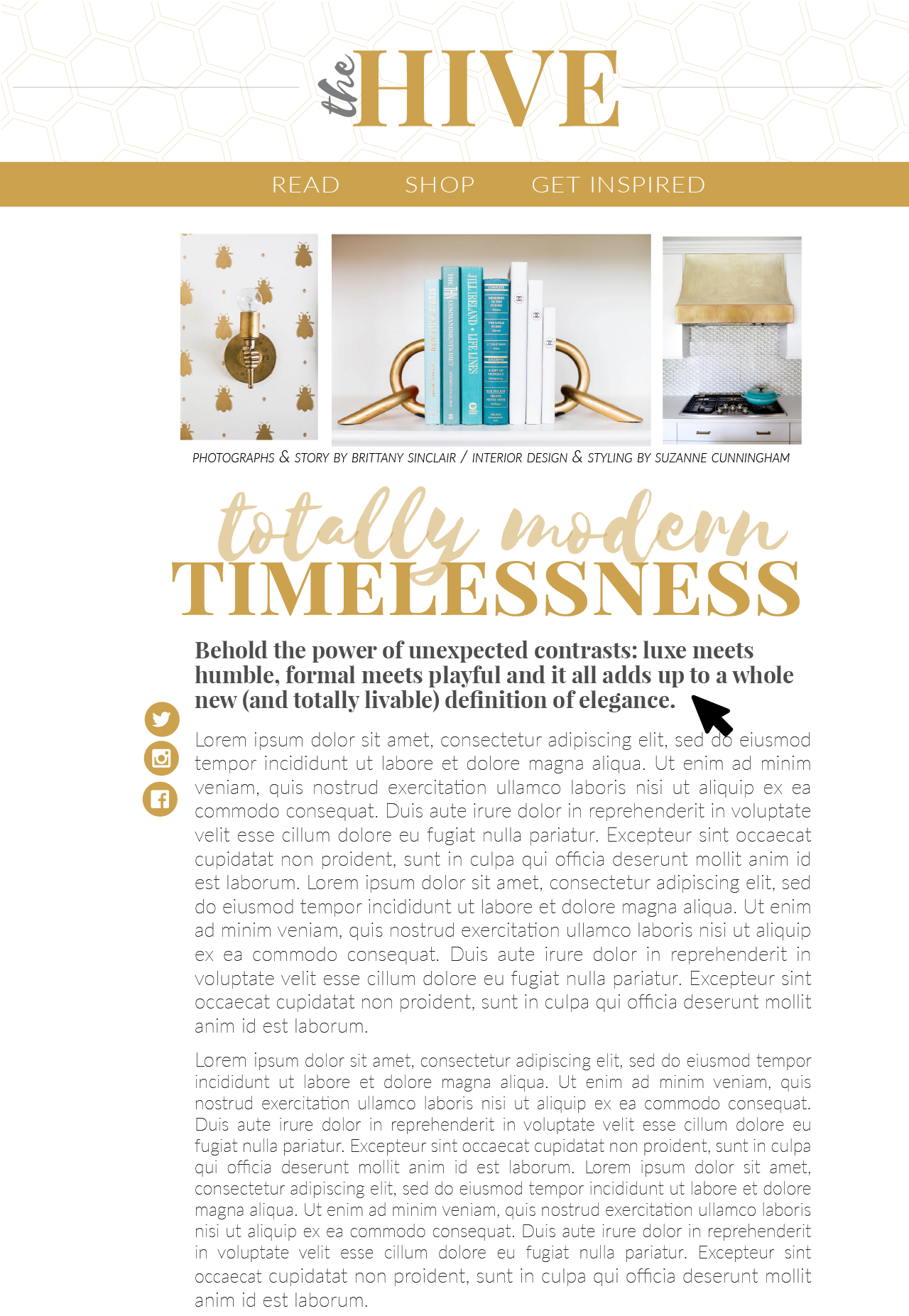 Article page for the website of a fictional interior design publication