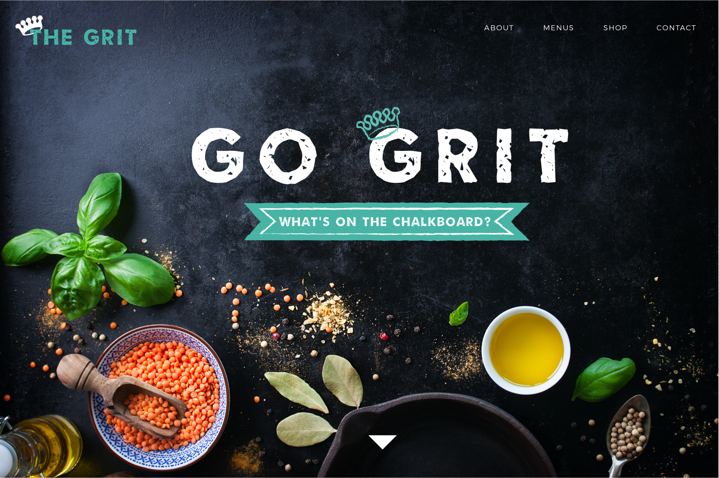 Redesign of the online homepage of local restaurant, The Grit