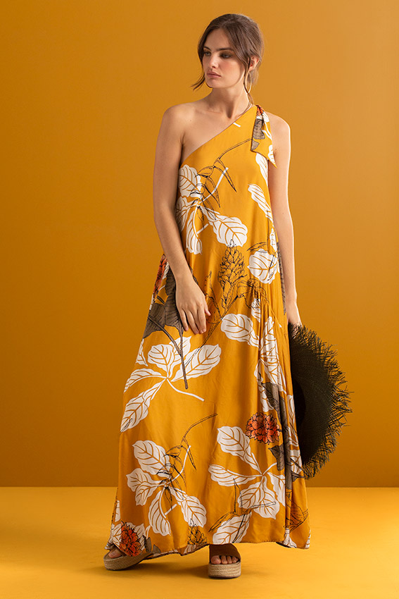 maxi dress colour mustard and print fabric