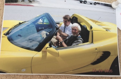 Summer 2005: JB Straubel and Professor Gil Masters, in the Tesla Roadster prototype. Today this picture lives on the bulletin board of Prof. Masters Energy Lab at Stanford University.
