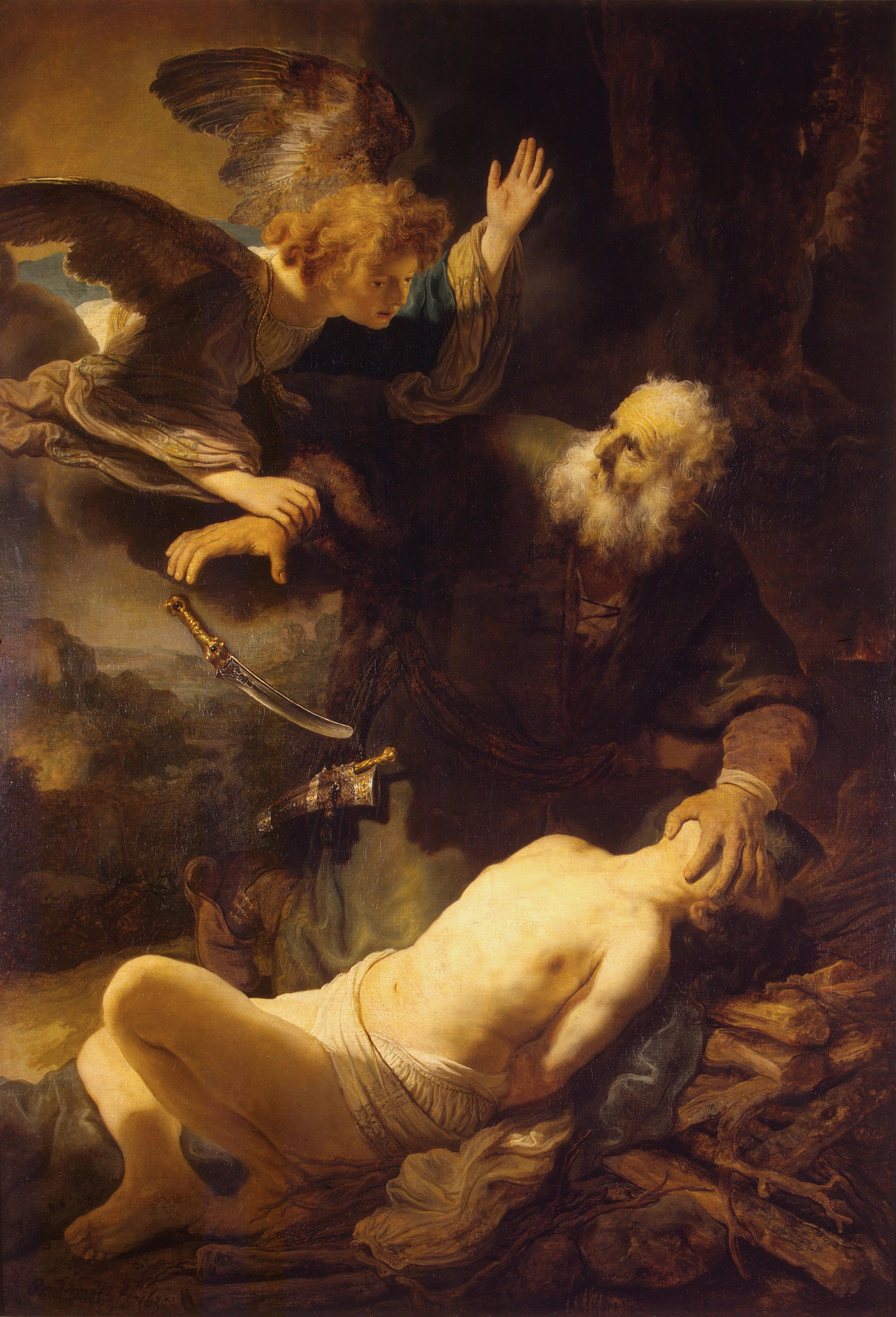 The Sacrifice of Isaac   is a 1635 autograph oil on canvas work by  Rembrandt , now in the  Hermitage Museum .