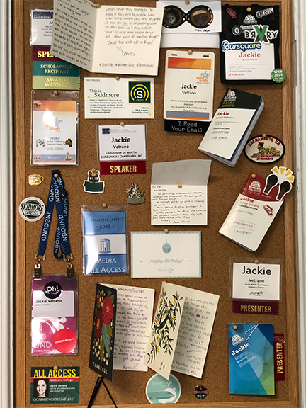 Jackie has a massive collection of conference badges from her many speaking engagements.