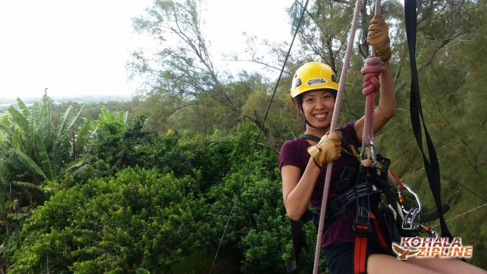 Kristie ziplining in Hawaii for a show.