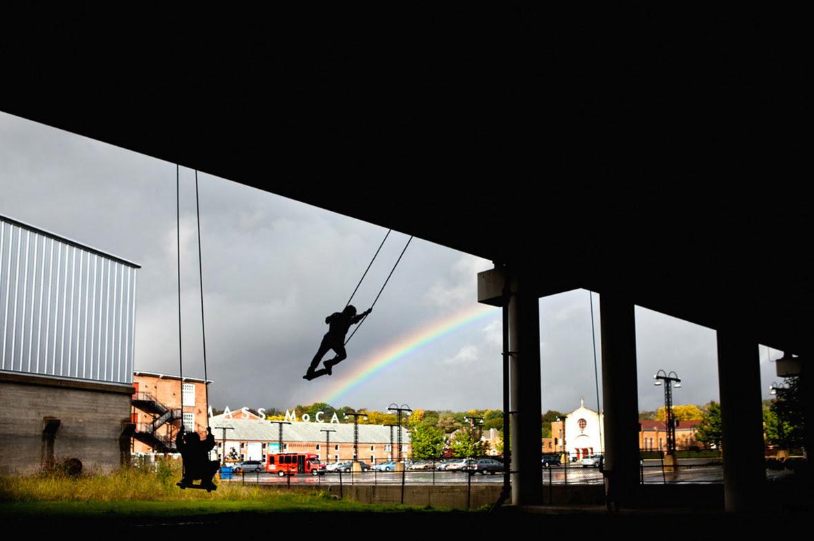 "Jane Philbrick, The Expanded Field: ""Swings,"" Mass MoCA Rt 2 underpass, 2011 (Photo: Tony Cenicola)"