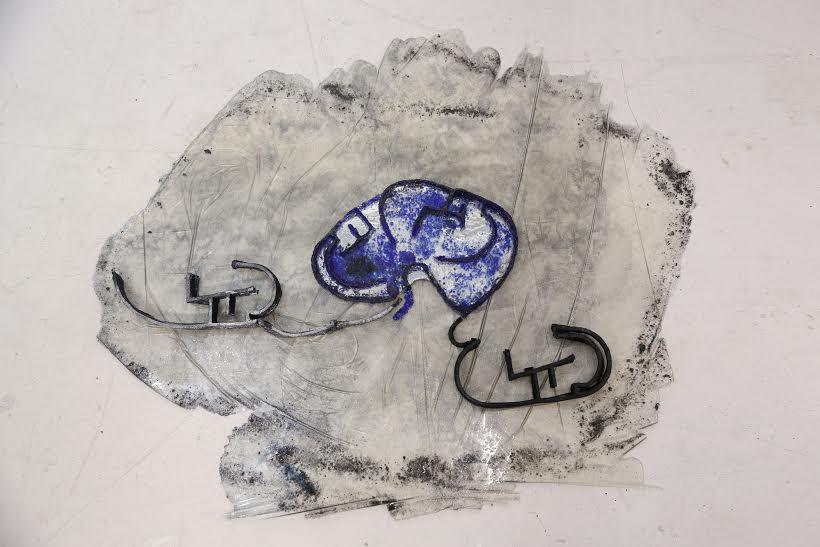 Graciela Cassel, Labyrinth, Glass- sand, cardboard, 32 x 26 inches, 2016