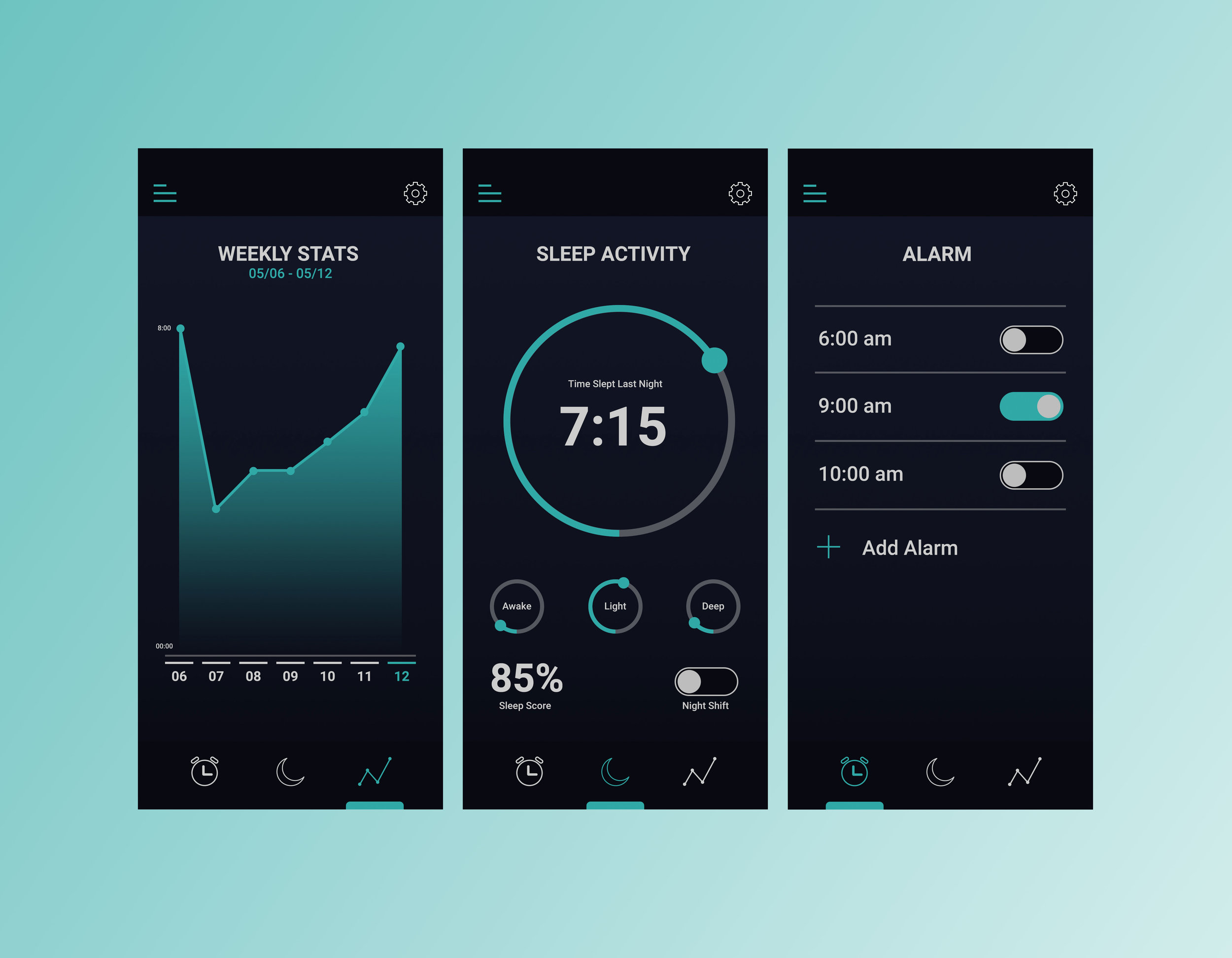 Left to Right: Stats Screen, Home Screen, Alarm Screen.