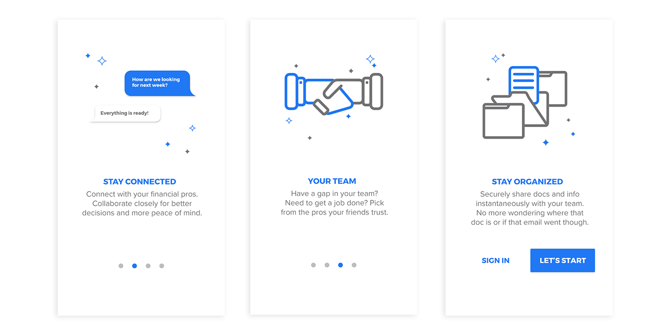 Left to Right: 2, 3, and 4 of 4 Onboarding Screens