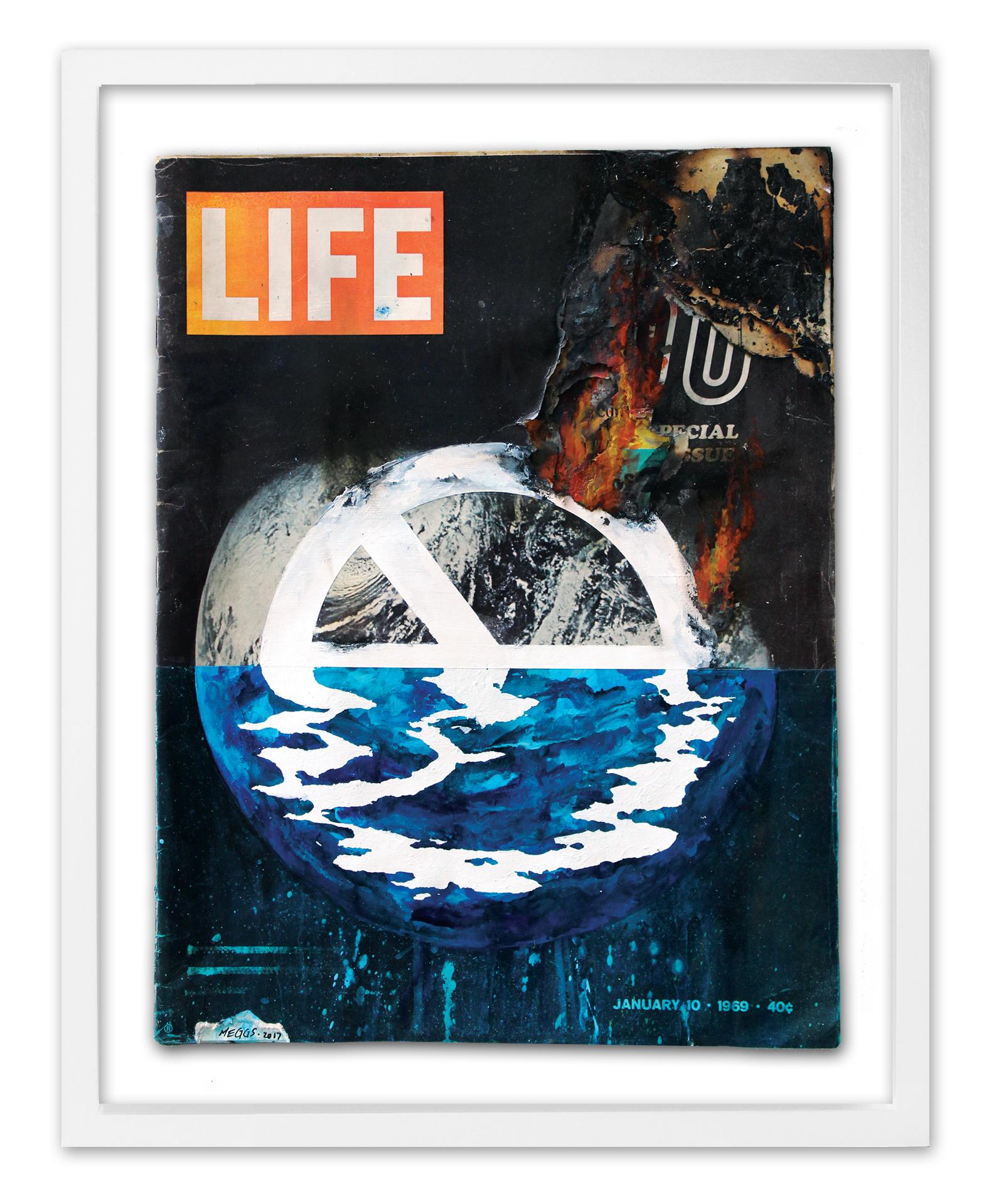 'Reflection'  2017 Acrylic on repurposed LIFE Magazine