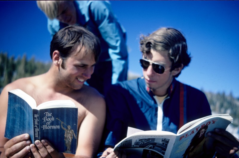 Being literary sorts, we had several books and magazines to read on the trip. Here John borrowed Kevin BOM, but is more interested in Wes' Playboy.
