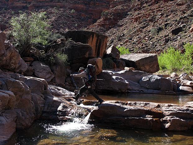 Above:Erik leaps the river.
