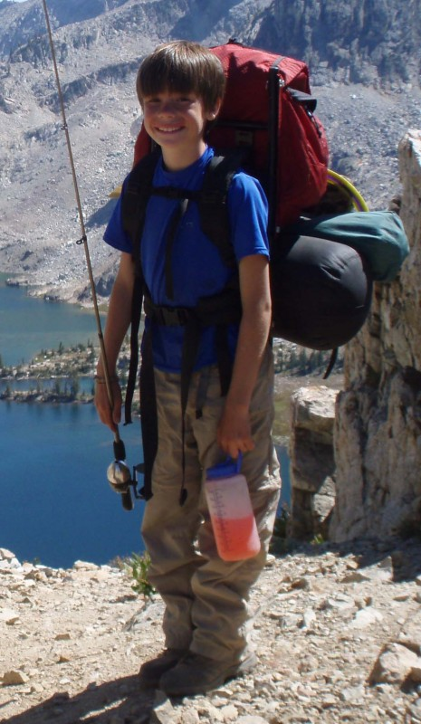Jim Shaver, 11 years old with small external frame pack