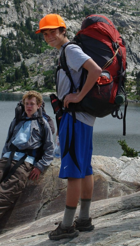 Jim at 14, in the Wind River Rang, with a women's size M internal frame pack, (His Mom's) by Gregory