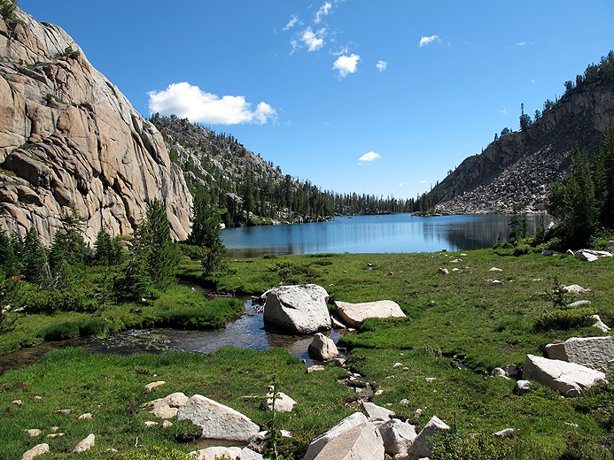 Island Lake. its probably 2 miles to Island Lake from Sapphire, and another 1.5 miles from Island lake to the trail junction with Walker Lake