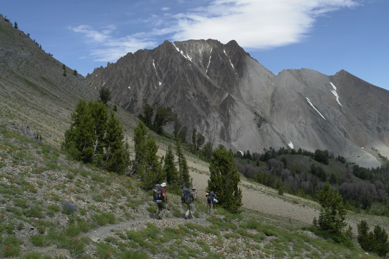 This is a view of Castle Peak as we head into Chamberlain Basin for our 2nd night's camp.