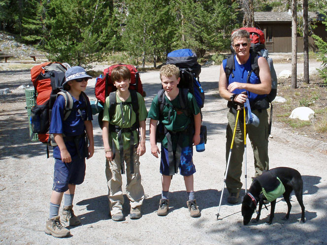 Lars, Jim, Malcolm, me and Ginger the dog, 2007 on Alice Toxaway backpack.