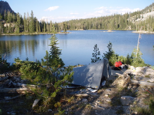 Our camp at Farley Lake, the first night of the trip.