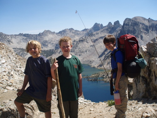 The boys on top of Snowyside Pass, overlooking Twin Lakes.