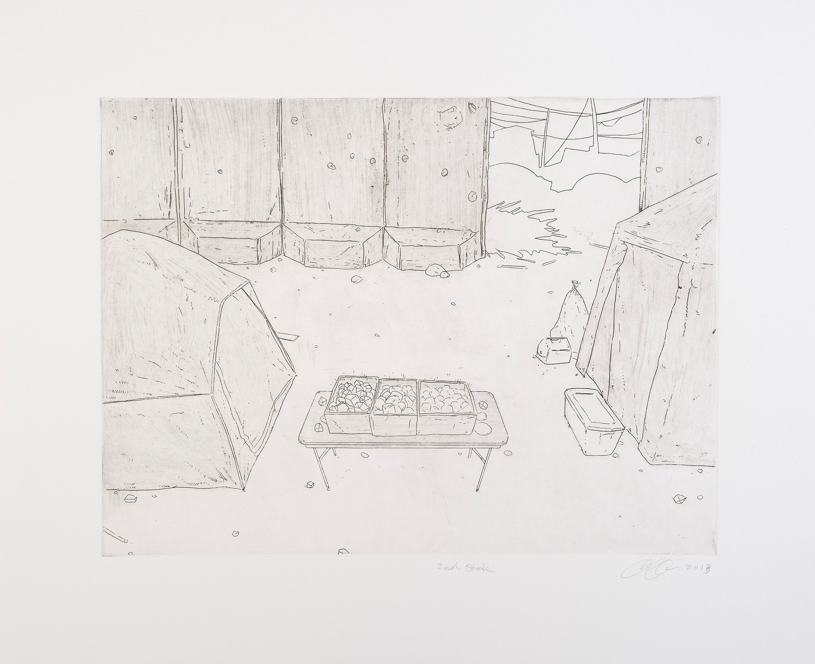 """Nutritional Crisis  Intaglio 9x12"""", 2nd state, ed 4, 2013 Printed at Fresno State University"""