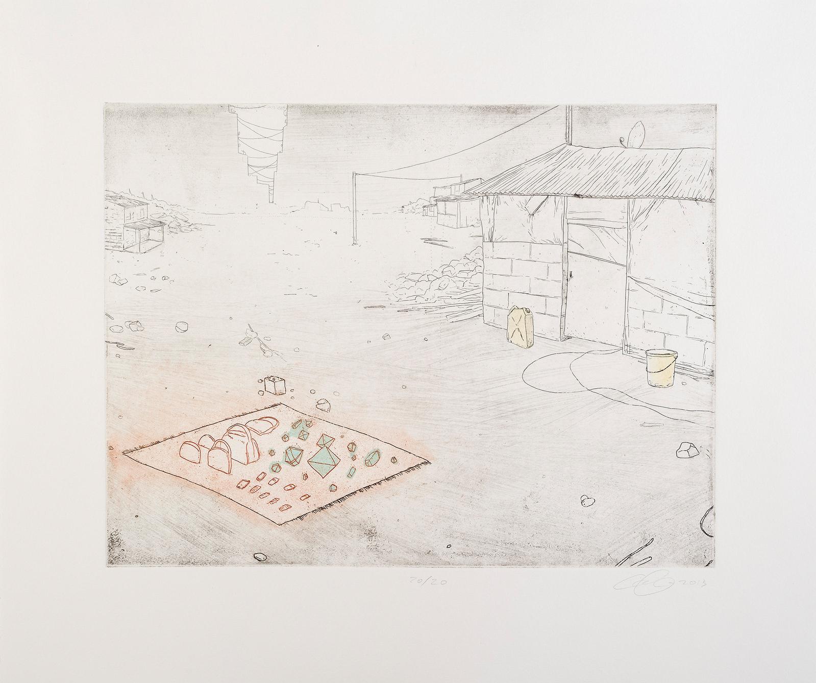 "The Romantic Machine  Intaglio with stencil 9x12"", ed 20, 2013 Printed at Fresno State University"