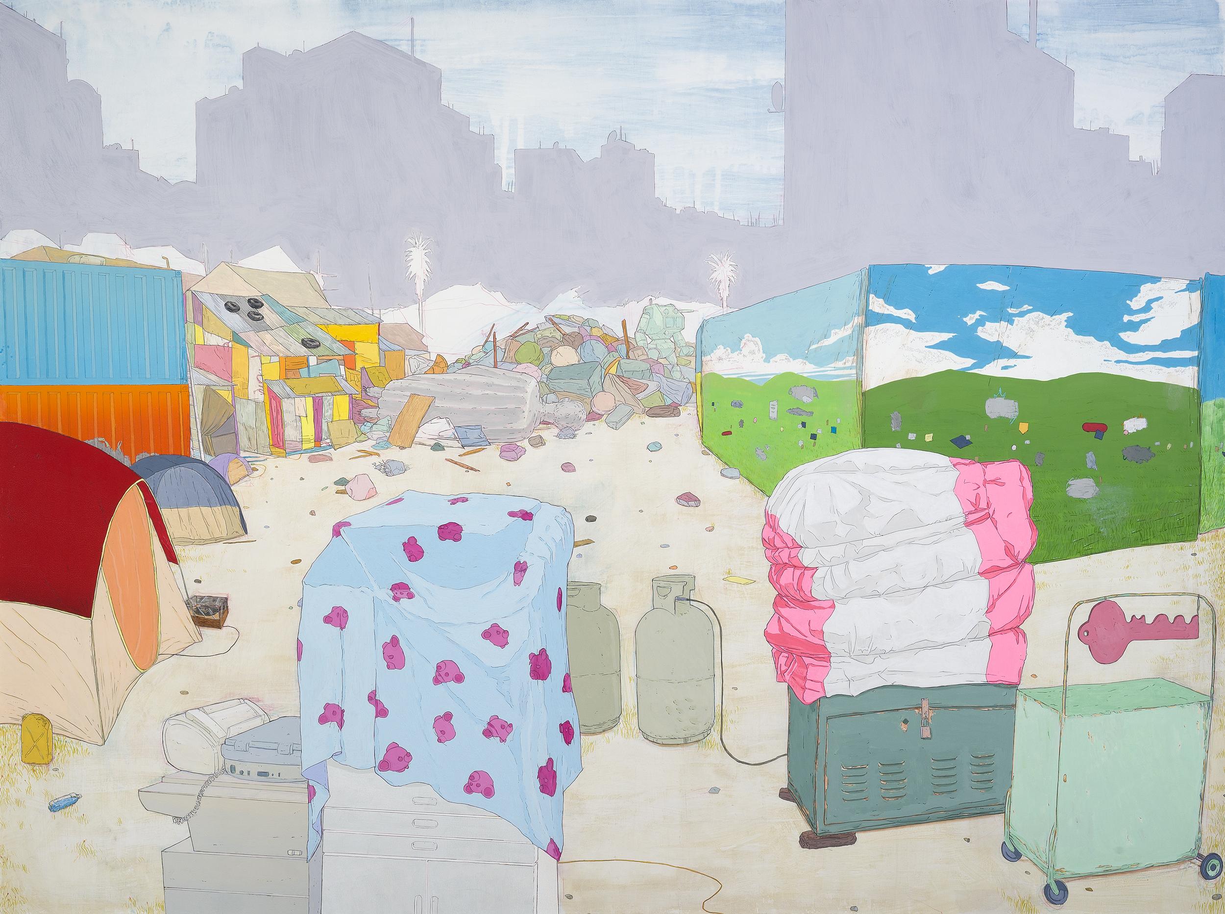 "Vertical Archipelago  Graphite, gouache, acrylic on canvas, 40x60"" 2013"