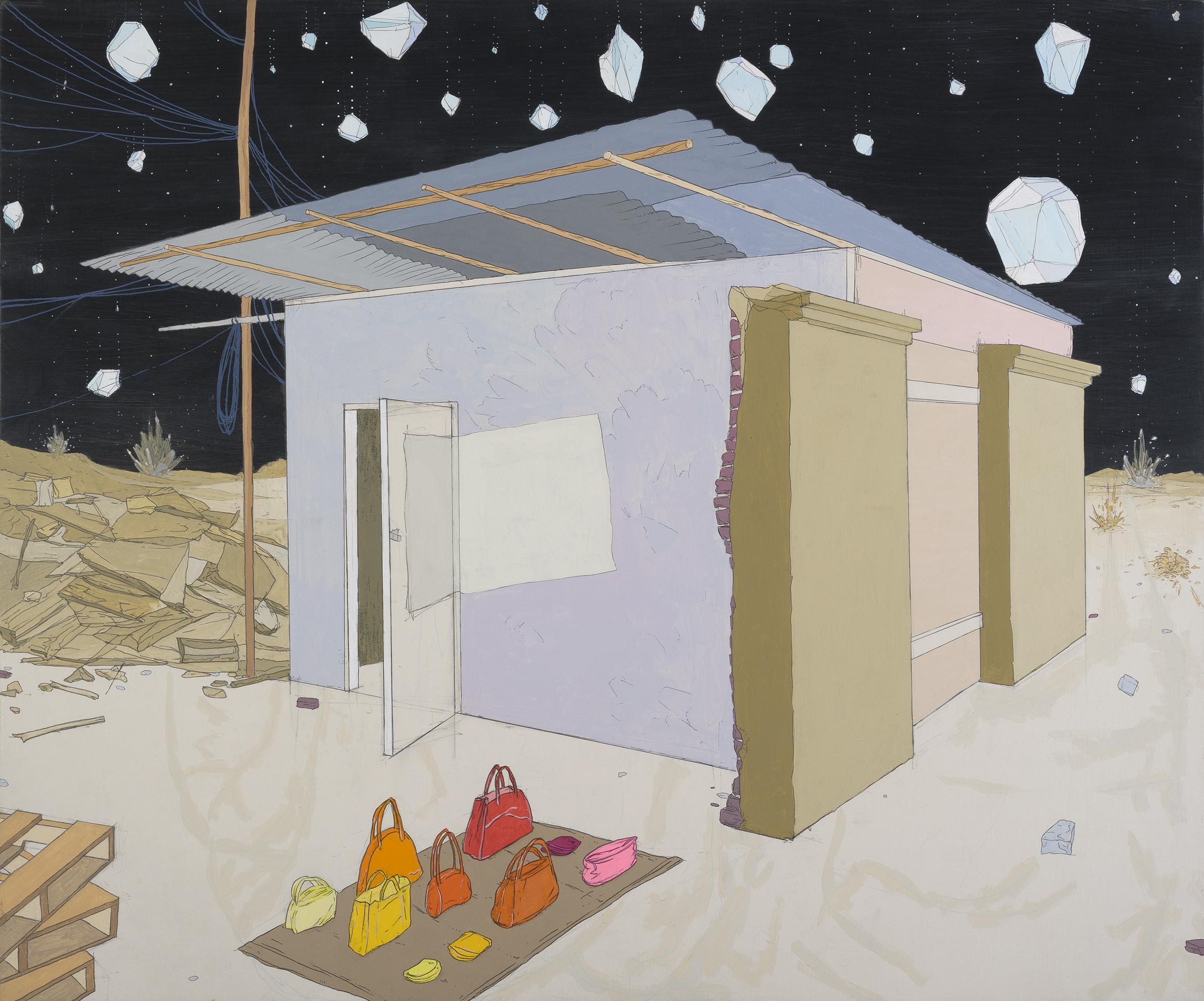 "Ghost Cargo  Graphite, gouache, acrylic on canvas, 20x24"" 2013"