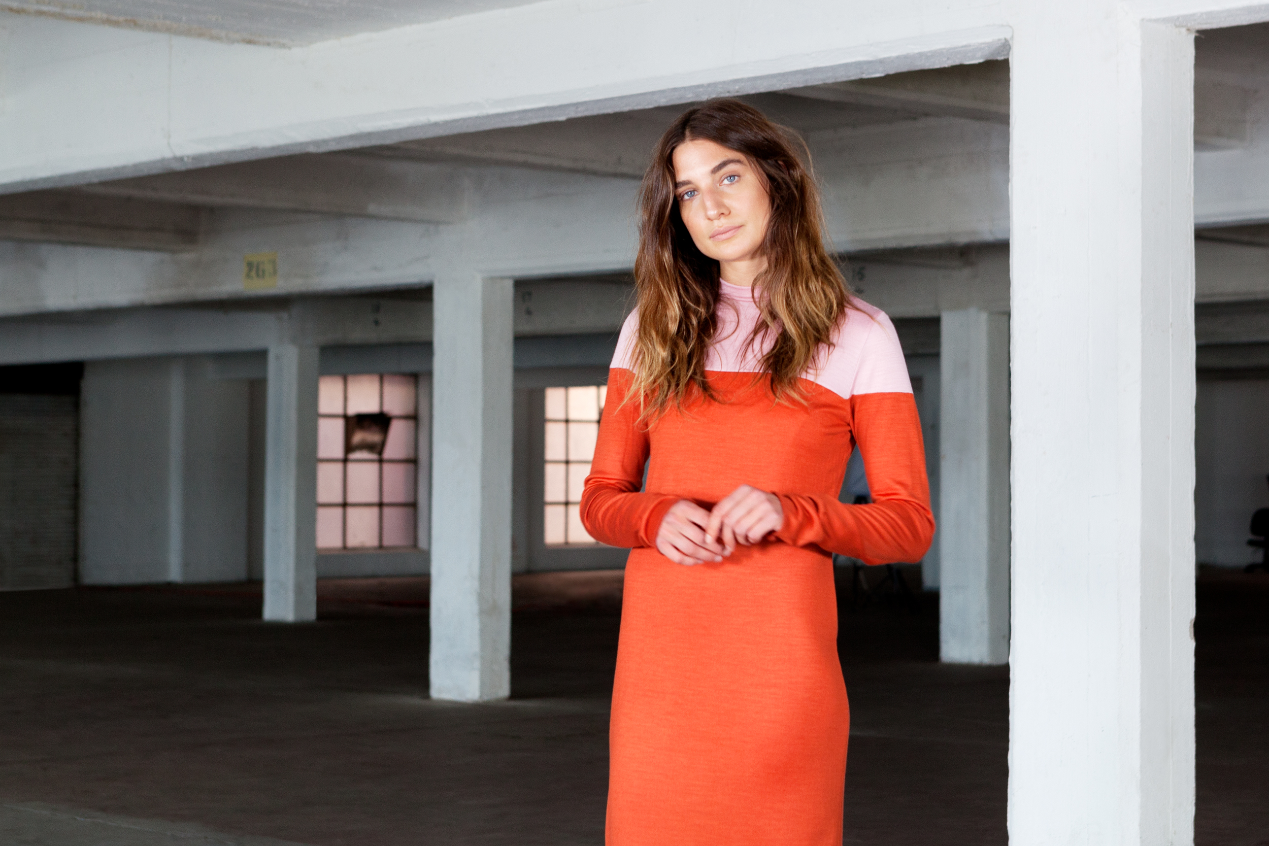 doro oneof orange pink split dress