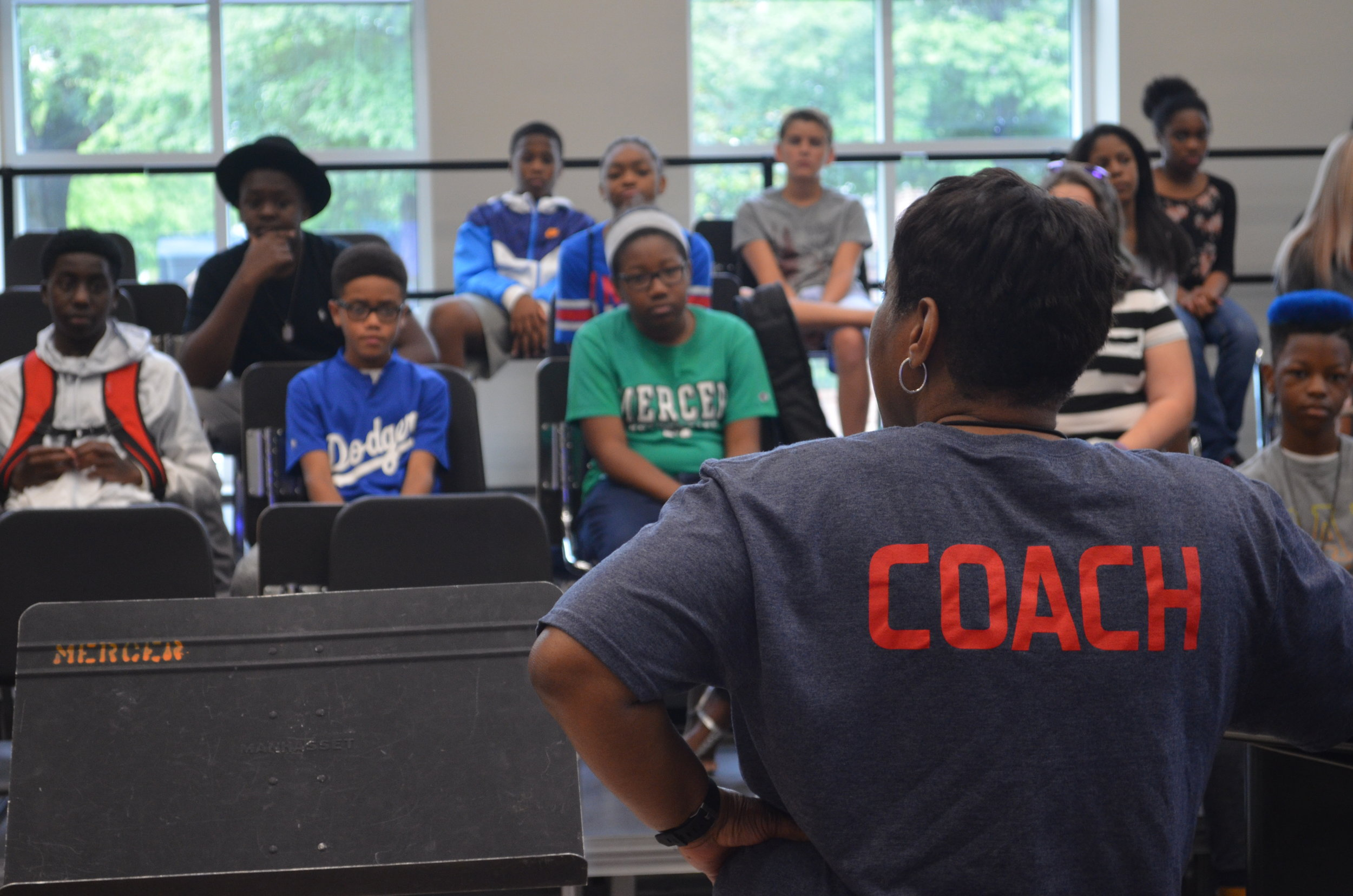 OMC Founder, Karla Redding-Andrews, introducing herself to the 2017 OMC campers on day one.