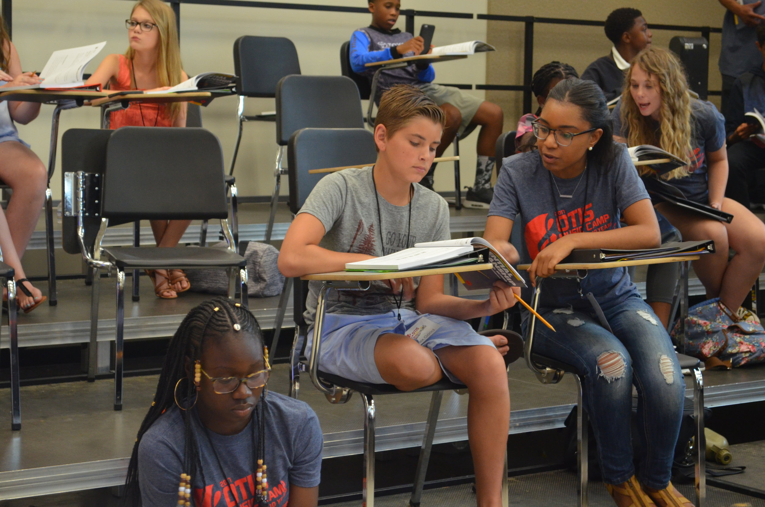 Each day of camp, Coach Ted White (not pictured) taught the campers music theory.