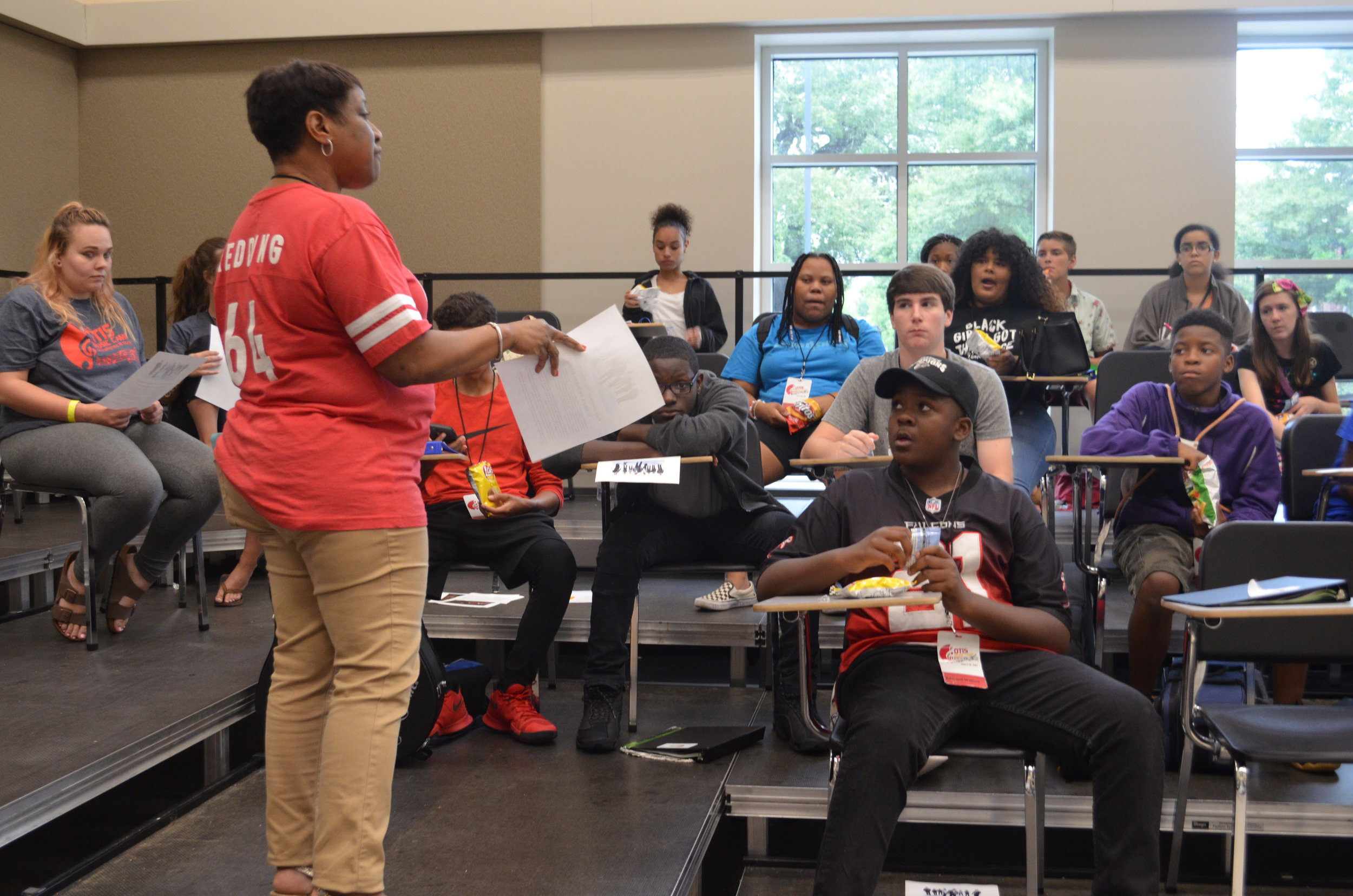 Karla Redding getting the campers ready for day two's presenters.