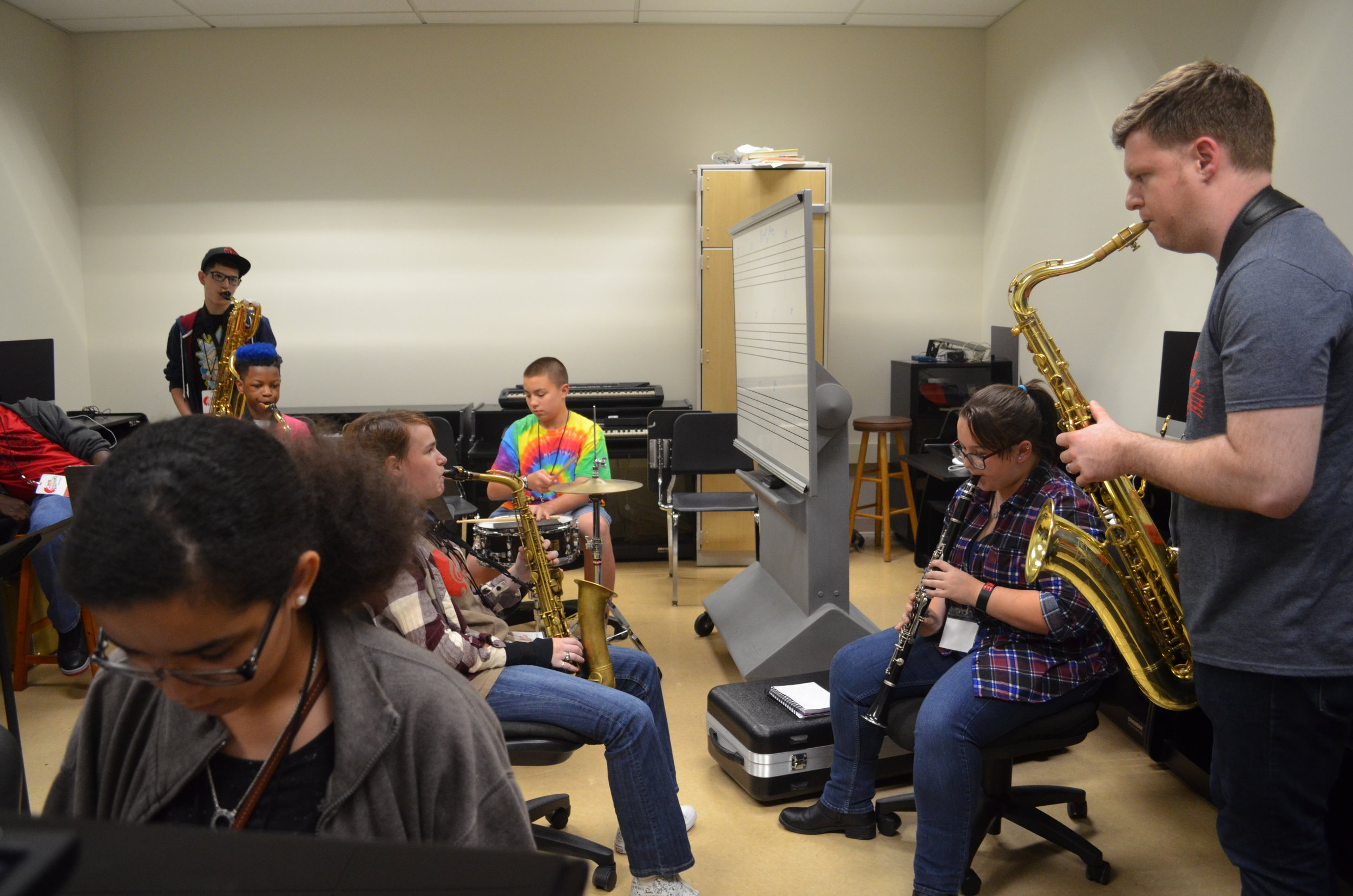 Coach Matt jamming with his Jazz campers.