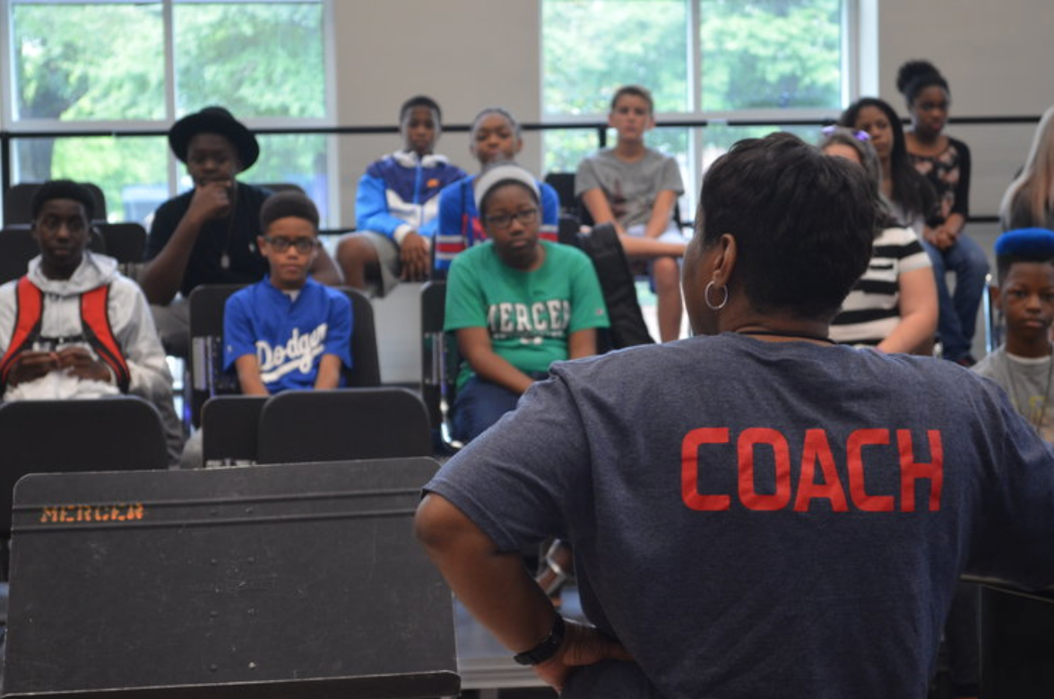 Redding-Andrews pictured with campers during the 2017 Otis Music Camp.