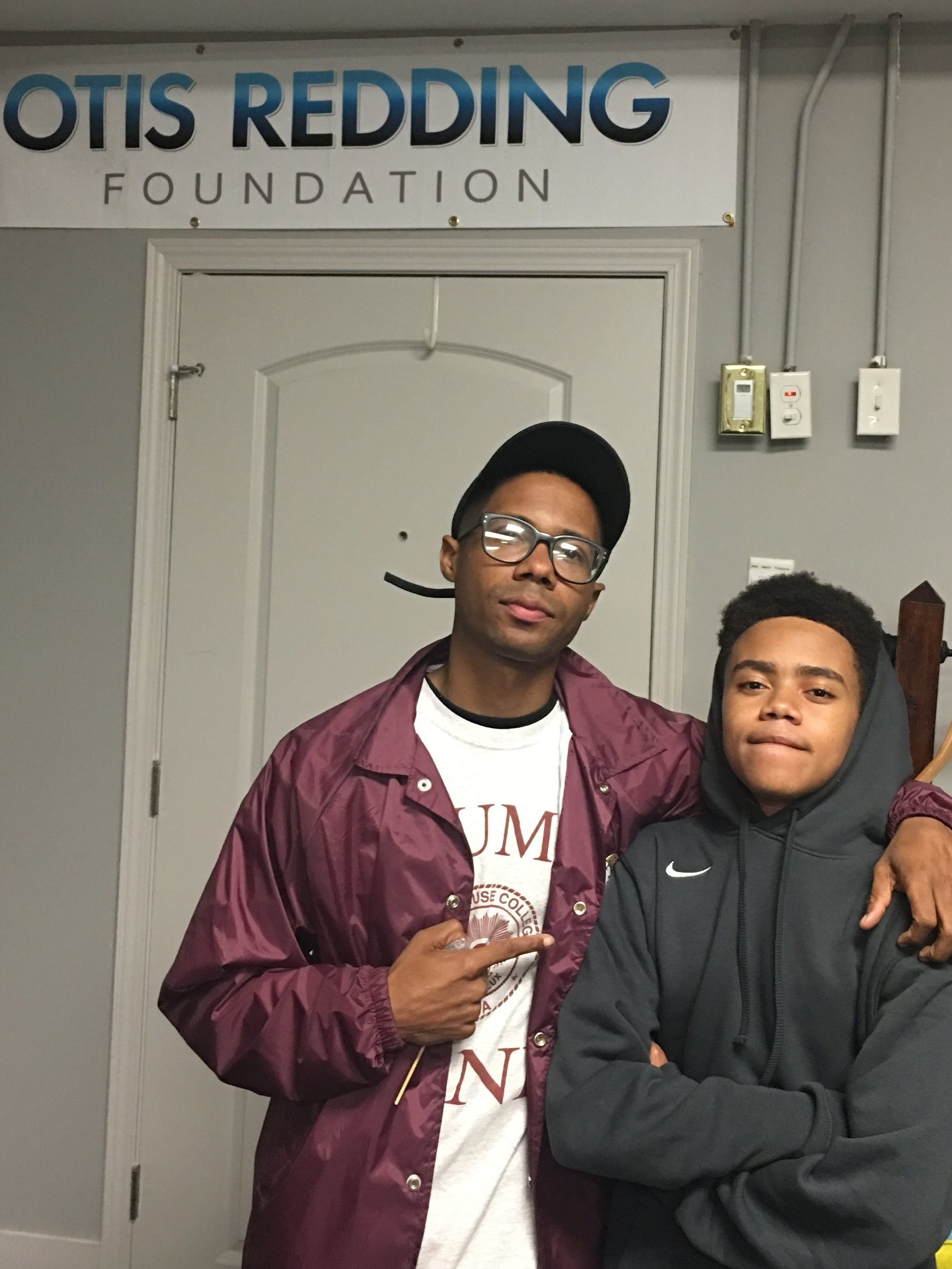 Vinson Muhammad and Dakarai Williams at the Otis Redding Center for Creative Arts, where the song was recorded.
