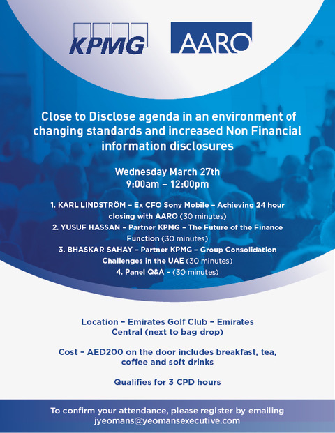 Breakfast seminar - With Aaro Systems in association with KPMG.On behalf of our member AARO they would like to invite our SBC members for their upcoming educational seminar breakfast on Wednesday the 27th March 2019; covering three very interesting topics and an excellent chance to network with other finance professionals.