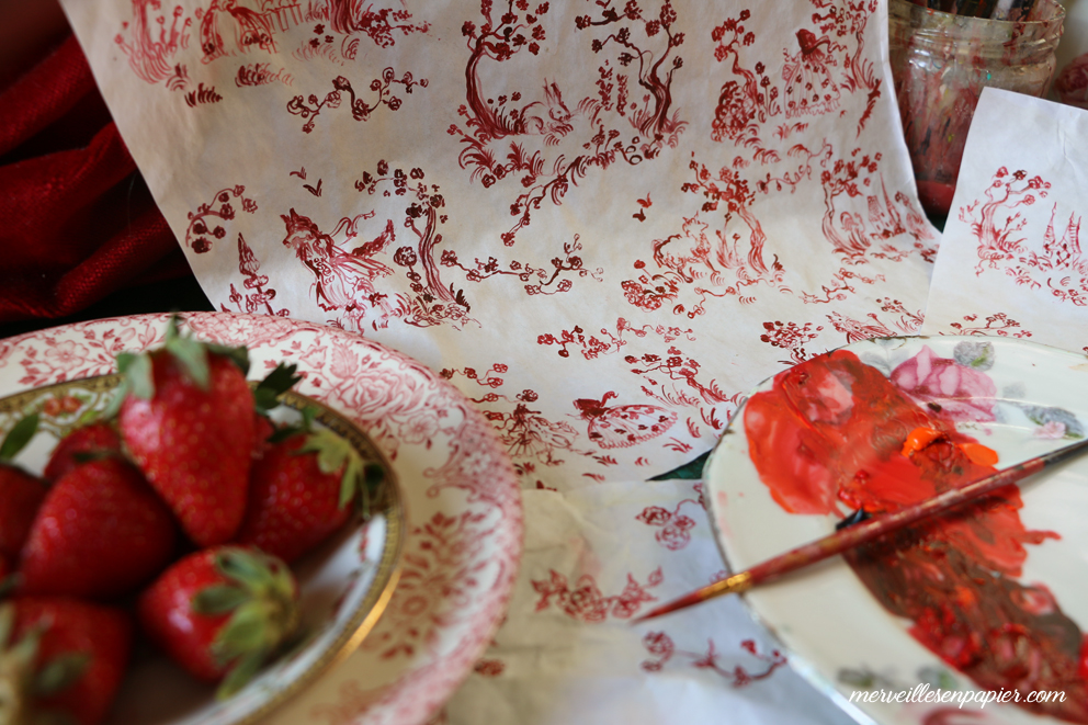 Painting French toile paper