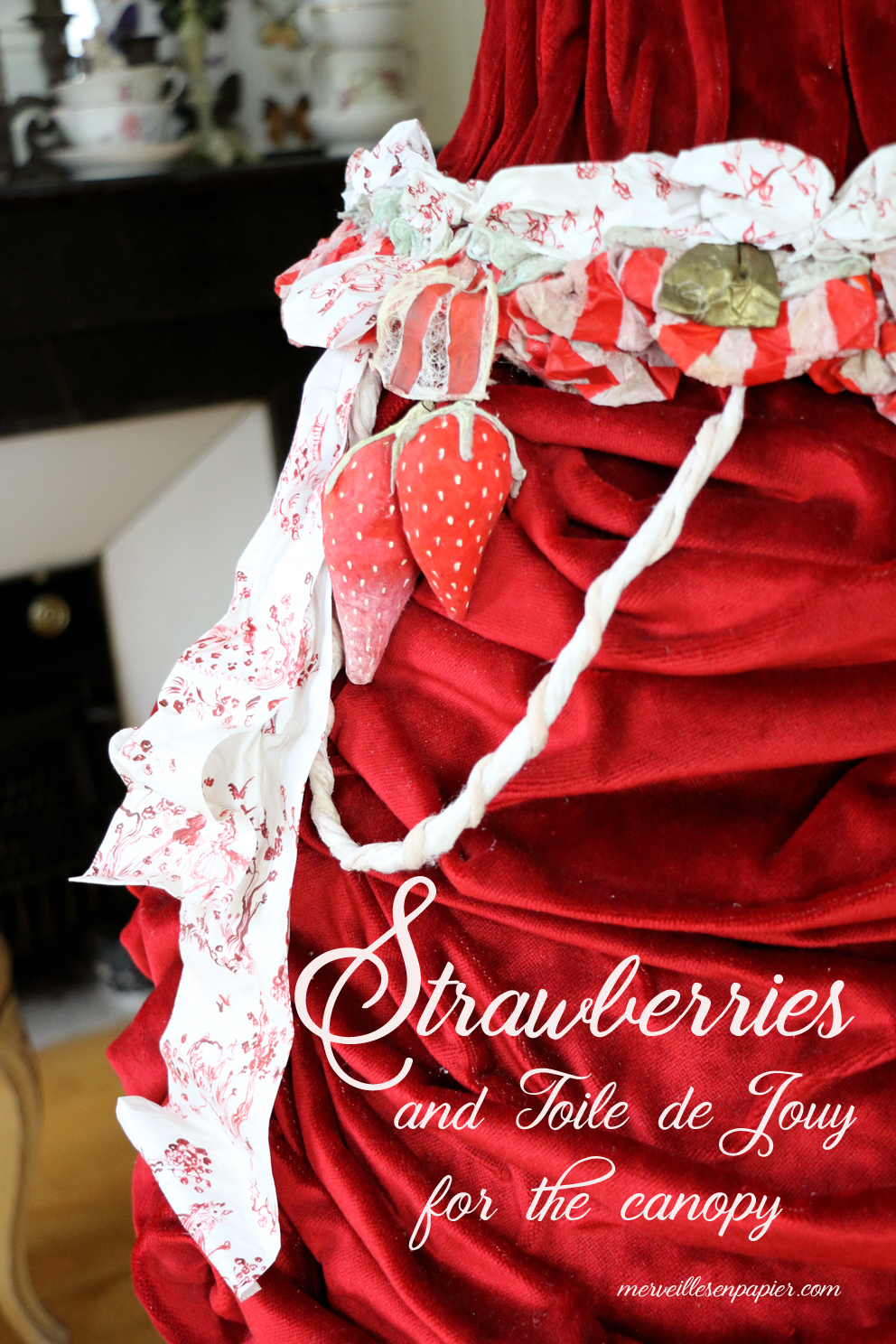 Strawberries and toile de jouy paper