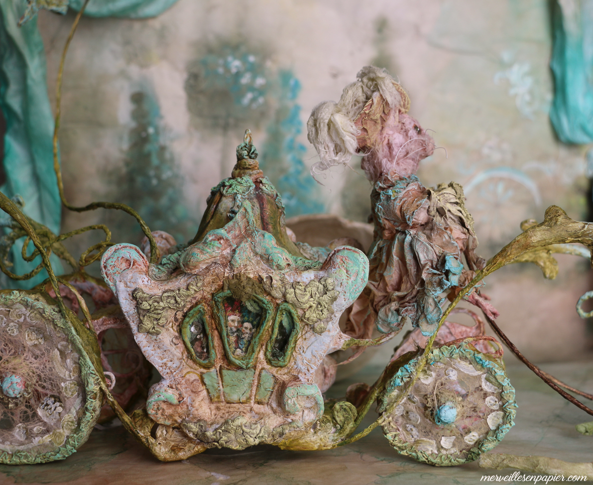 Carriage driven by the pink rat - Blue bird- Madame d'Aulnoy's fairy tales
