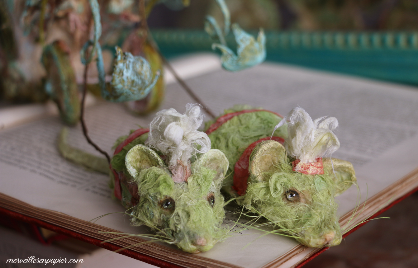 The green mice with the pink rat and athe carriage- Blue Bird- Madame d'Aulnoy