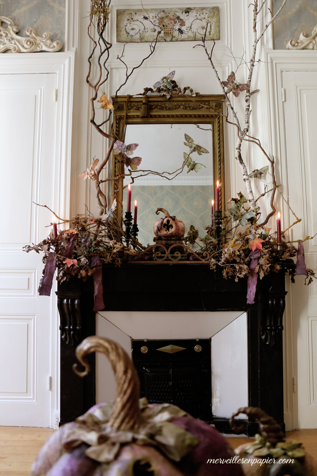 Halloween mantel decor- French Haunted Castle