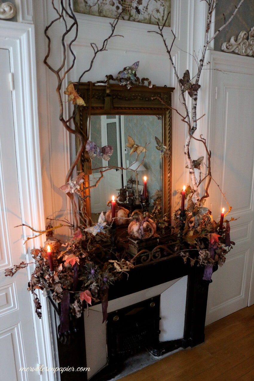 Halloween mantel Decor- French Castle Style