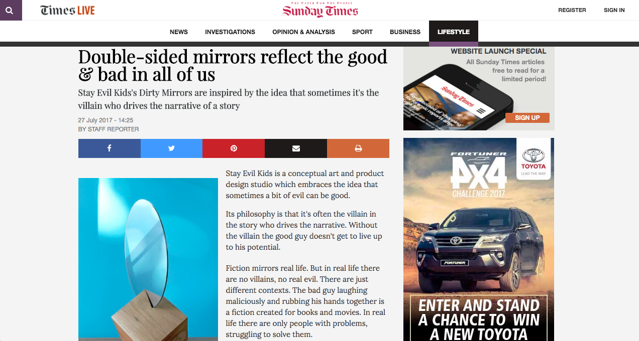 Dirty Mirrors Sunday Times