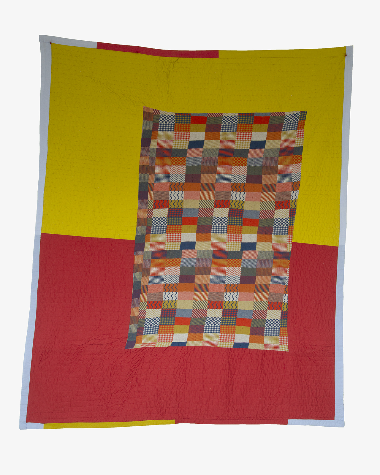 """Simple Sample, 2018, machine-pieced and hand-quilted cotton, knitwear sampler, bedsheet, and African Dutch Wax fabric, 83"""" x 70"""""""