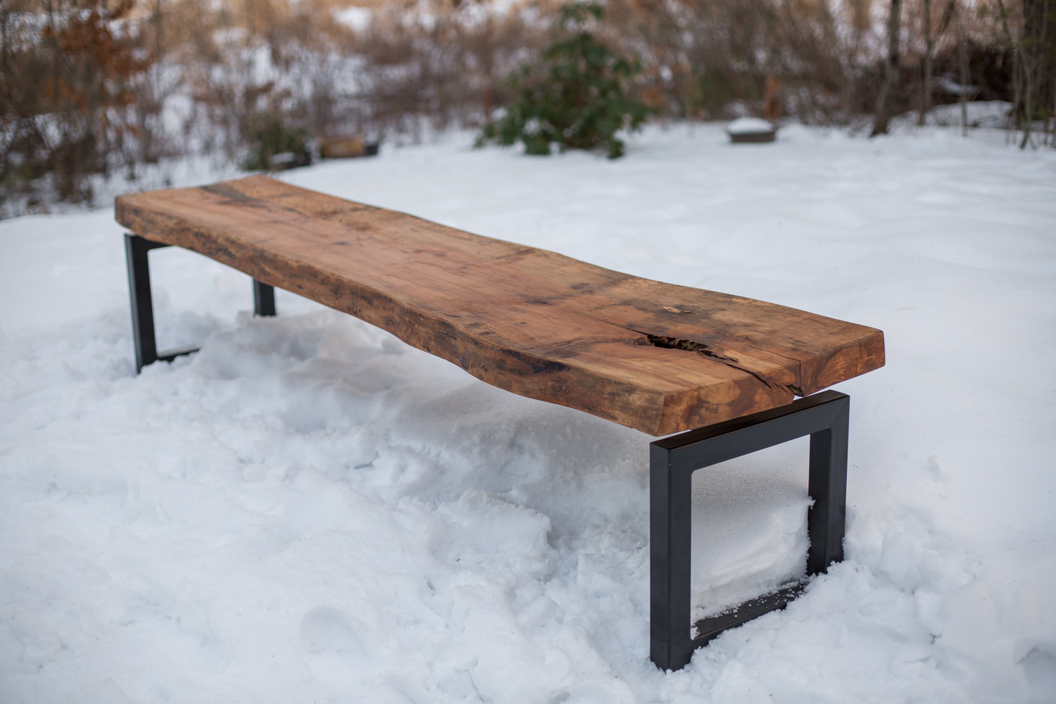 Liveedge Maple and Steel Bench