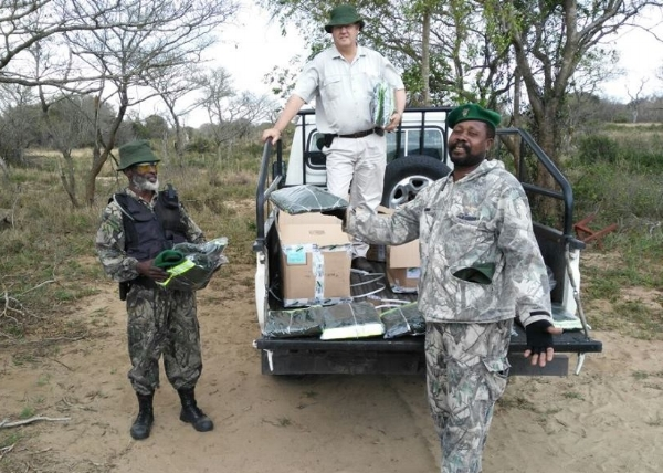 Rangers at Tembe Elephant Park receiving a delivery of uniforms from Wild Tomorrow Fund
