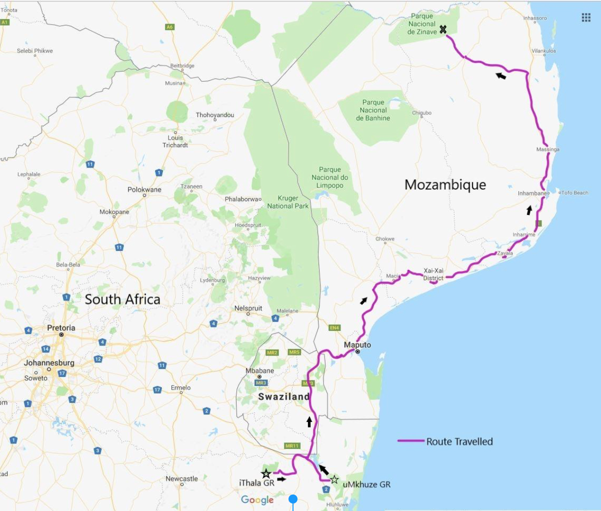 The 777 mile (250 km), 3 country-wide, route travelled by the 53 elephants.