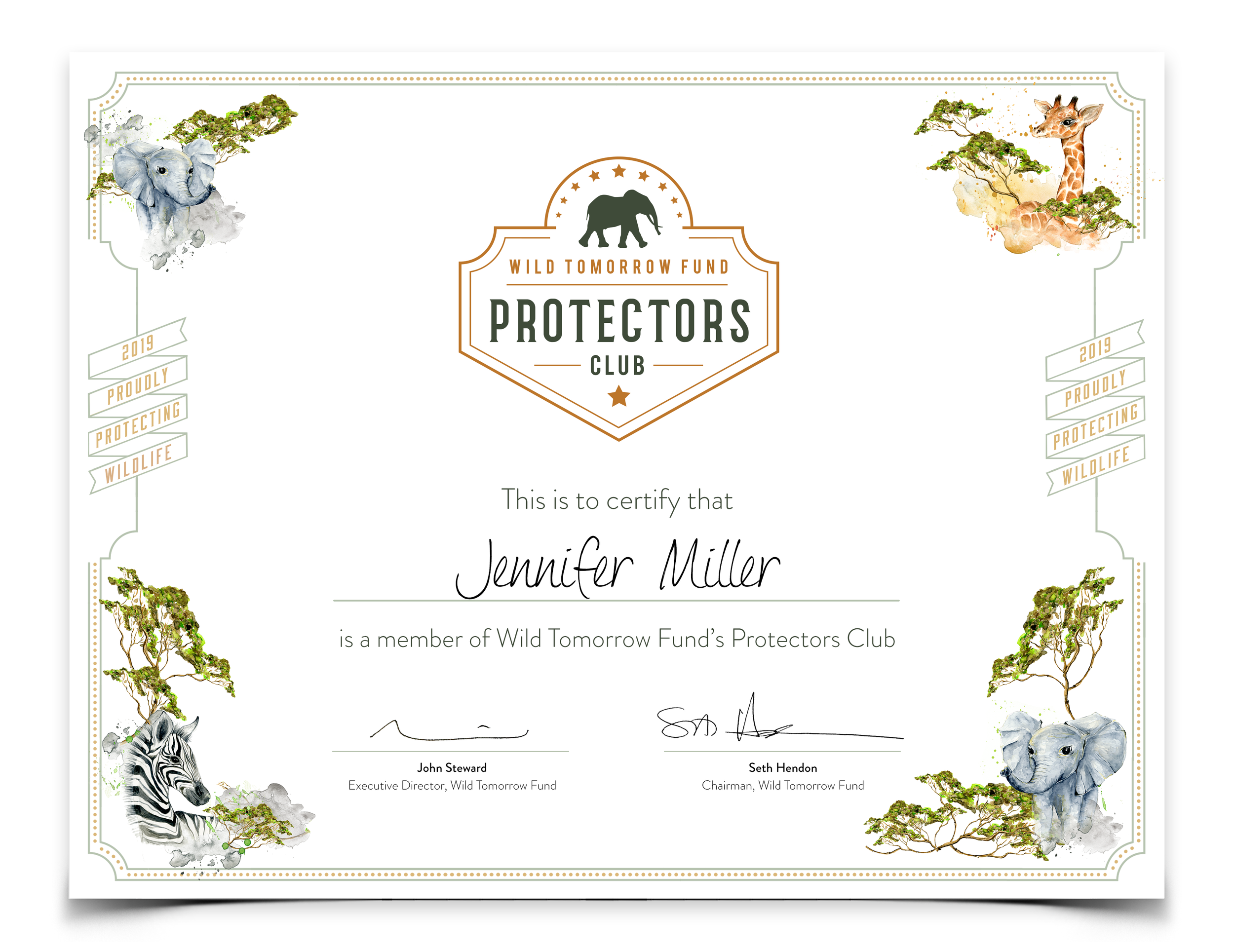 We'll send you a high-resolution digital, personalized Protectors Club membership certificate
