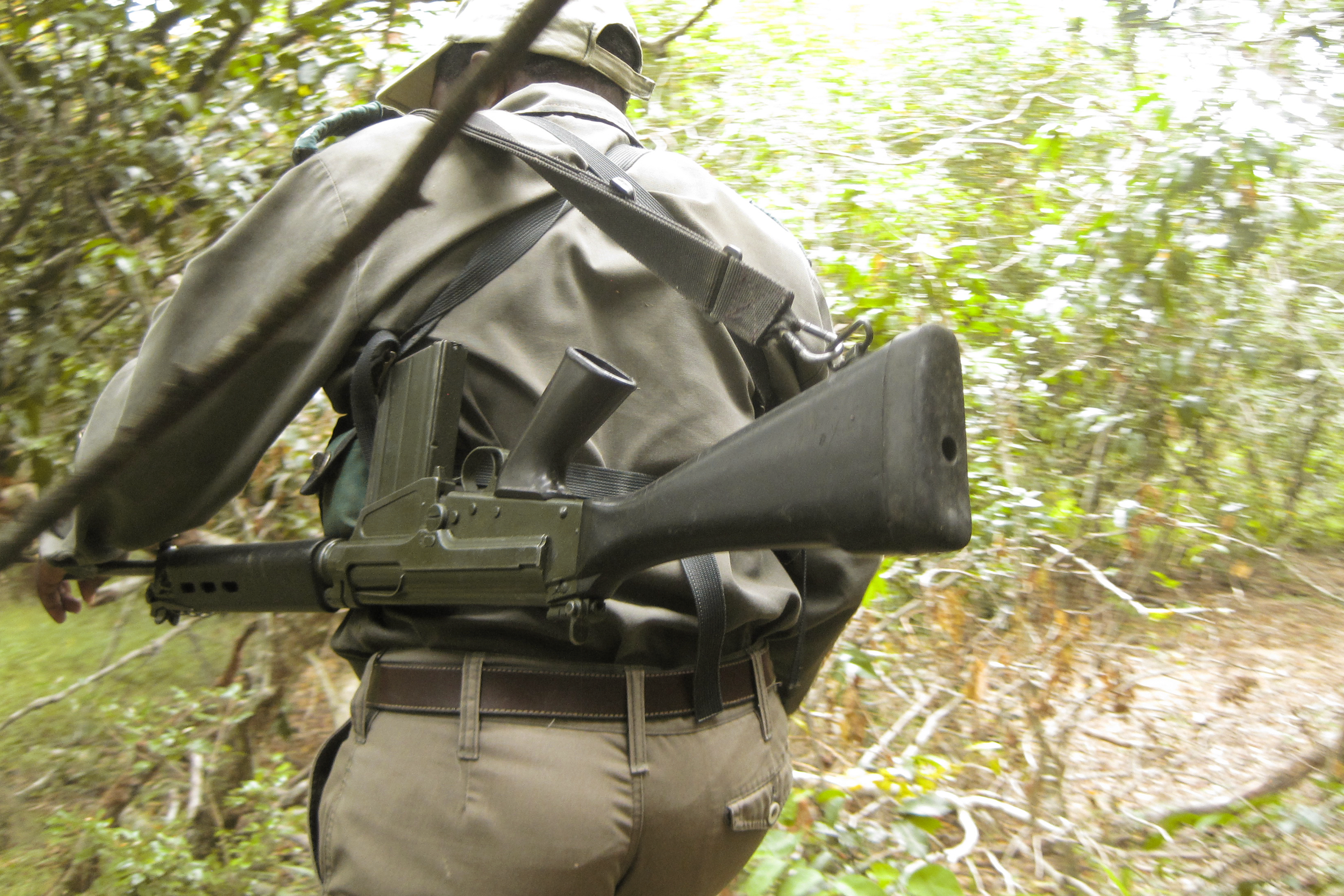 An anti-poaching ranger on patrol