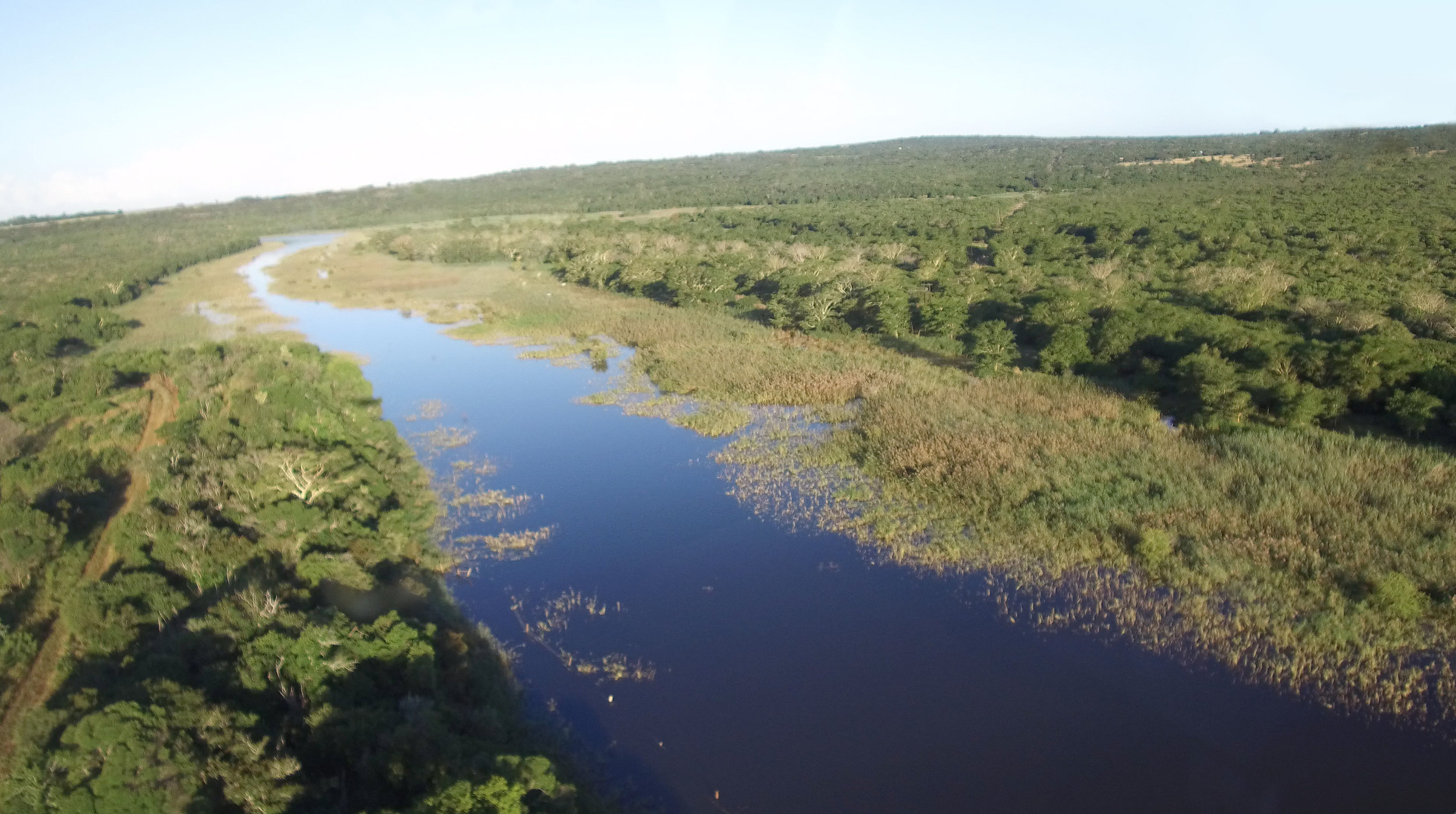 The 1,170 acre Mfuleni Conservancy from the air, looking down on the Msinene River.