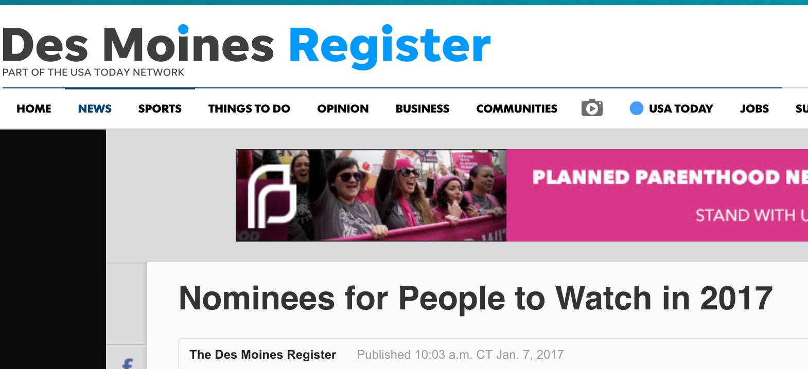 Des Moines Register's Nominees for People to Watch in 2017