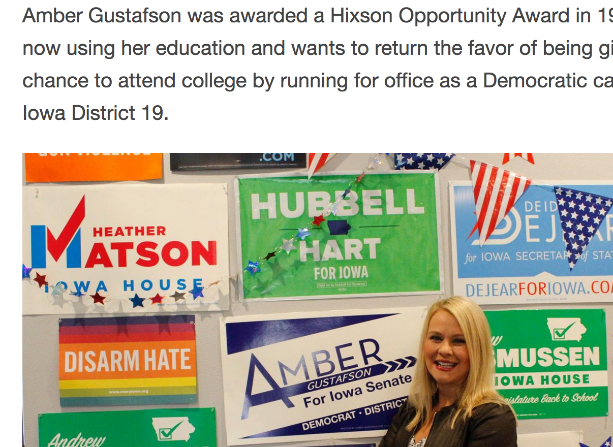 Hixson Opportunity Award Recipient Running for Iowa Senate
